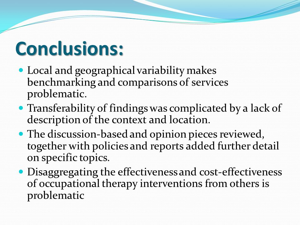 Conclusions: Local and geographical variability makes benchmarking and comparisons of services problematic.