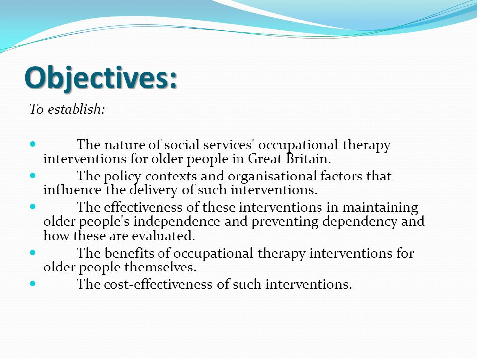 Objectives: To establish: