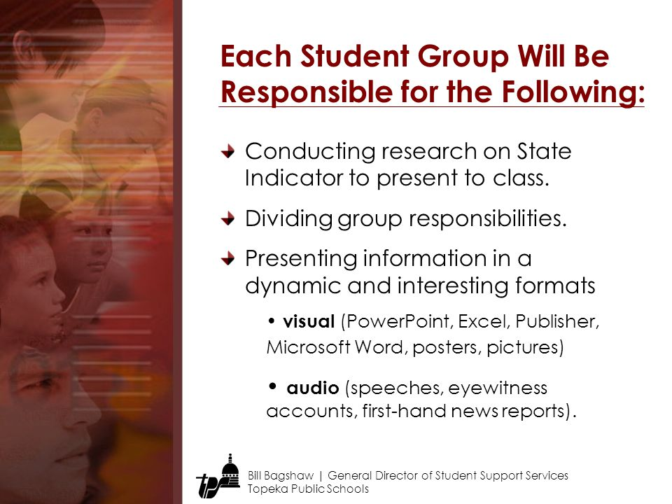 Each Student Group Will Be Responsible for the Following: