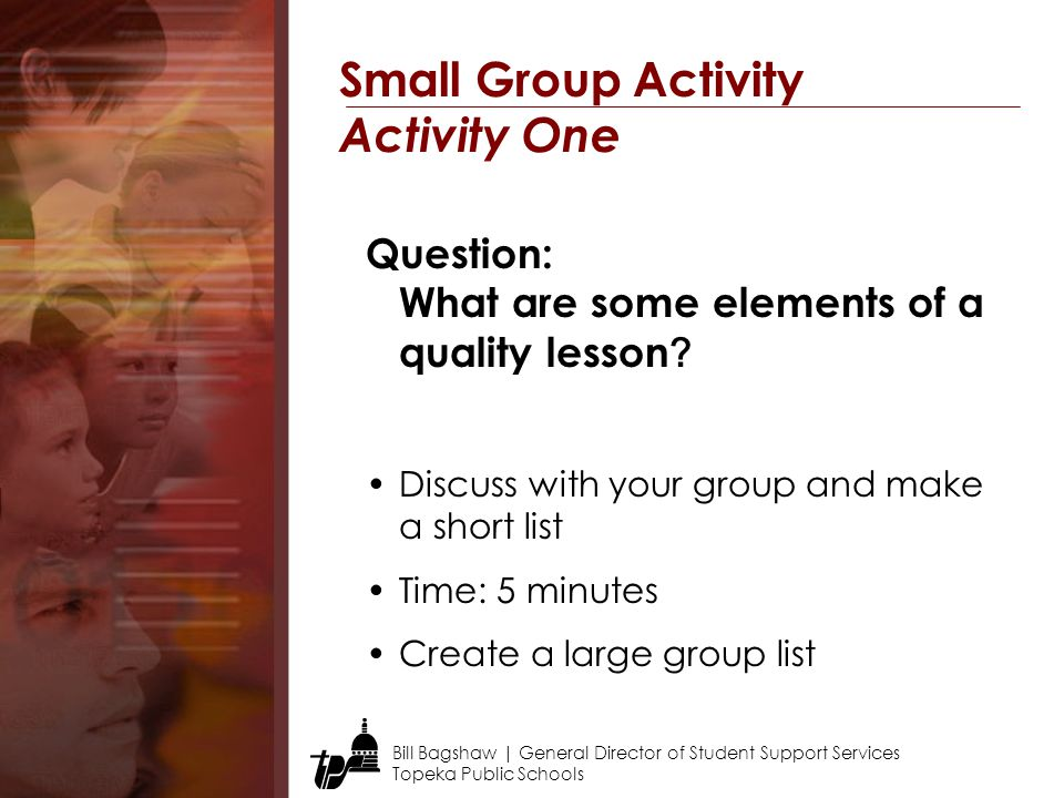 Small Group Activity Activity One