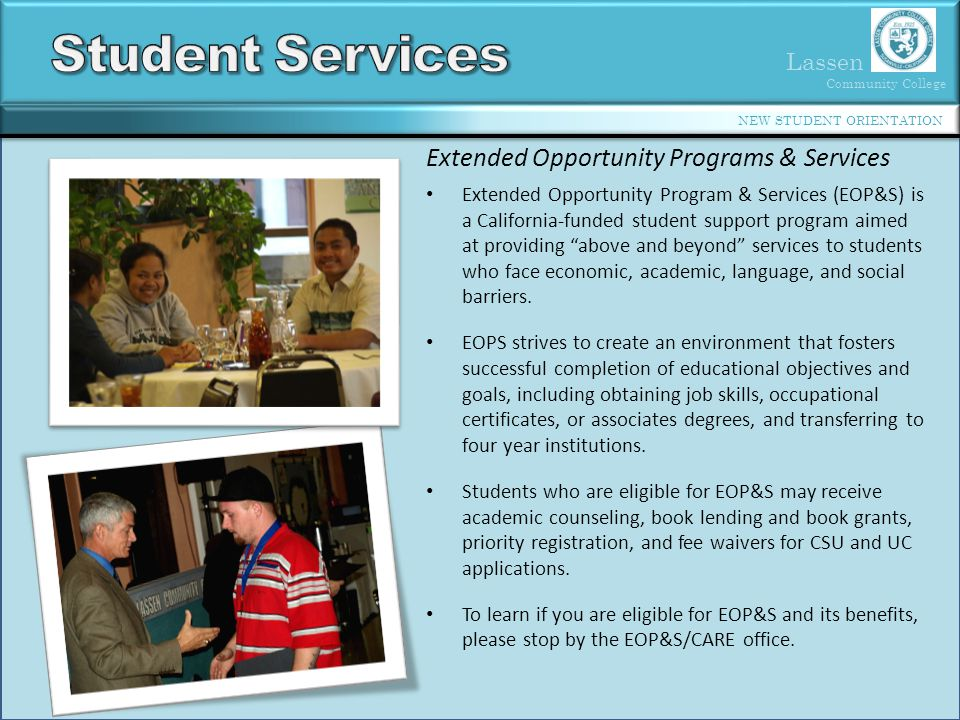 Student Services Extended Opportunity Programs & Services