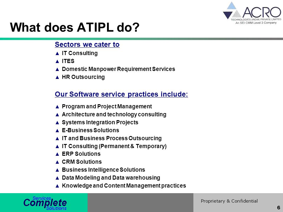What does ATIPL do Sectors we cater to