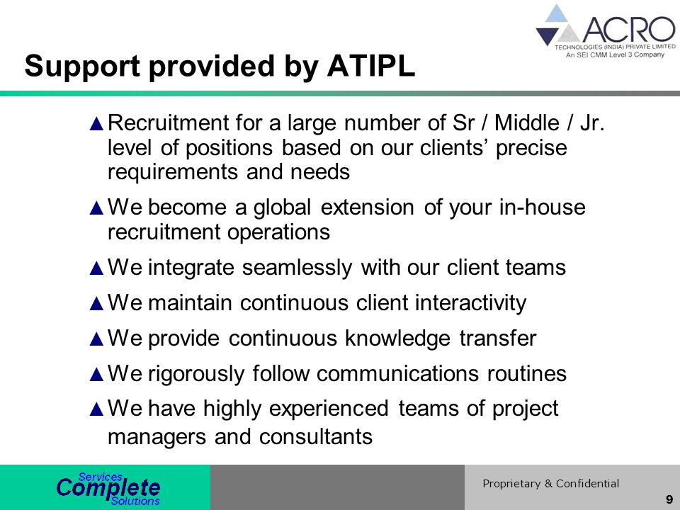 Support provided by ATIPL