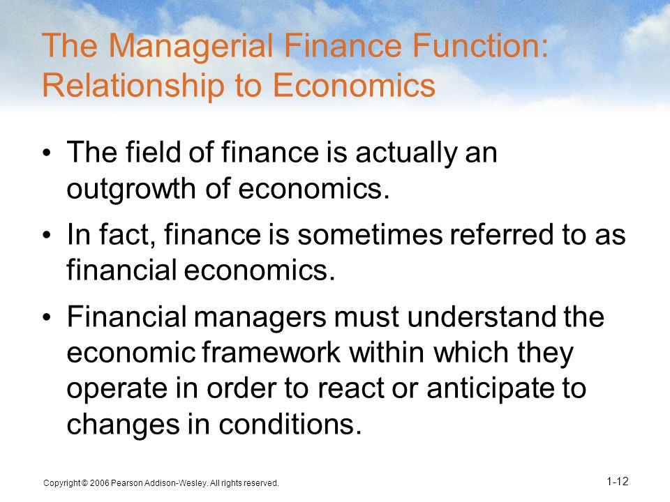 The Managerial Finance Function: Relationship to Economics