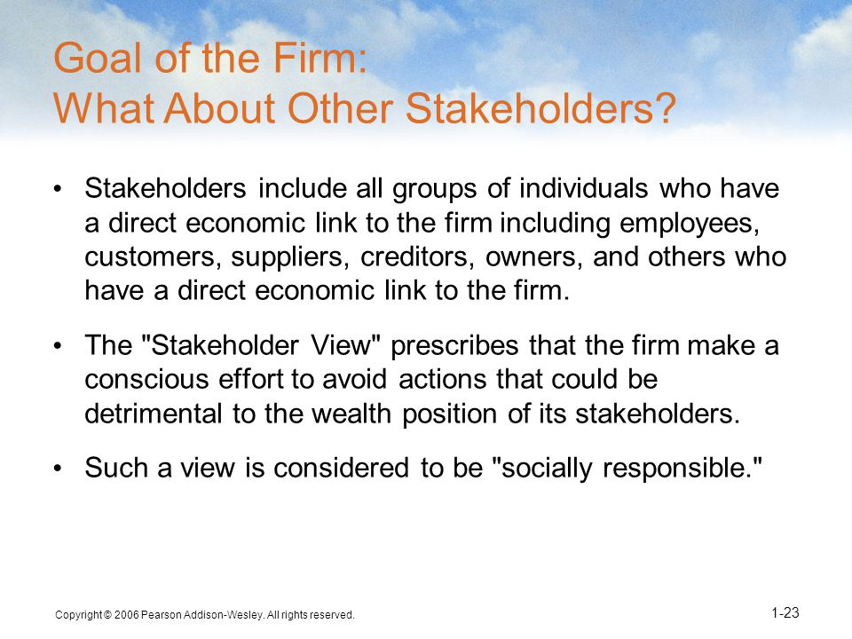 Goal of the Firm: What About Other Stakeholders