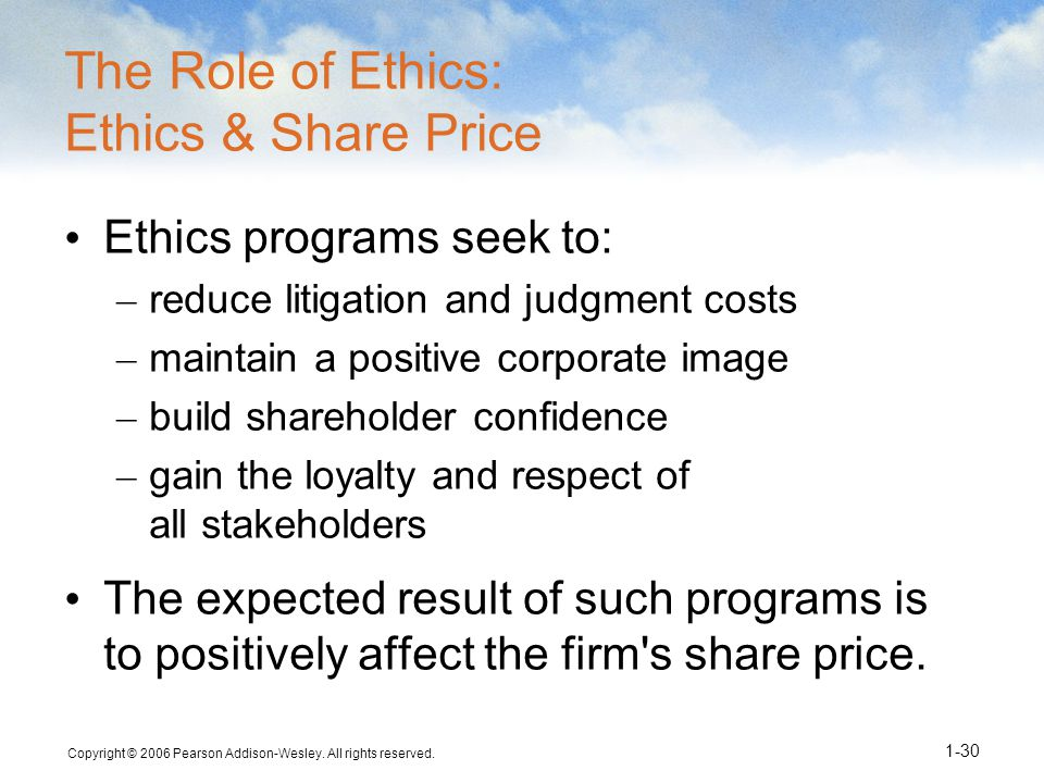 The Role of Ethics: Ethics & Share Price