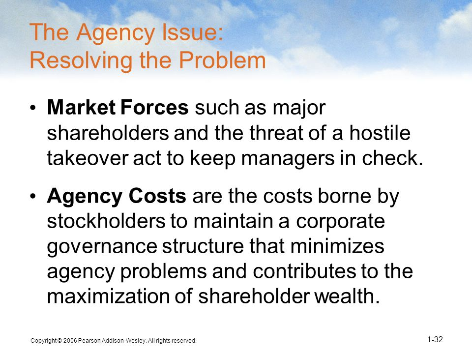 The Agency Issue: Resolving the Problem