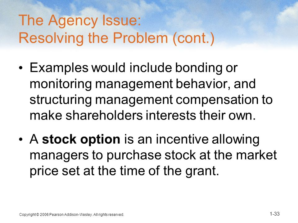 Stock options agency problem