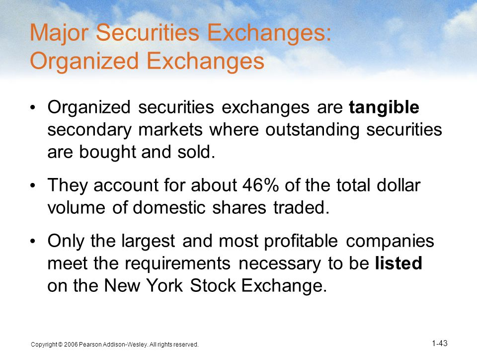 Major Securities Exchanges: Organized Exchanges