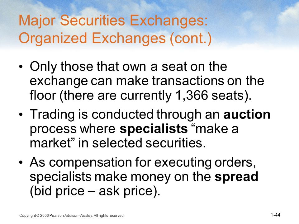 Major Securities Exchanges: Organized Exchanges (cont.)