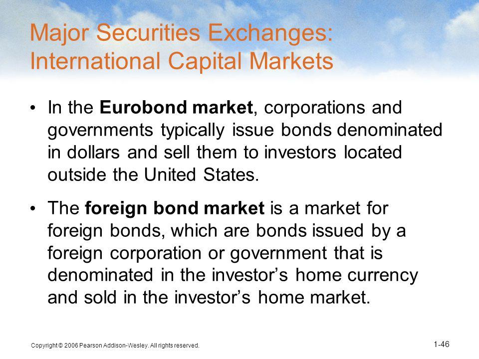 Major Securities Exchanges: International Capital Markets
