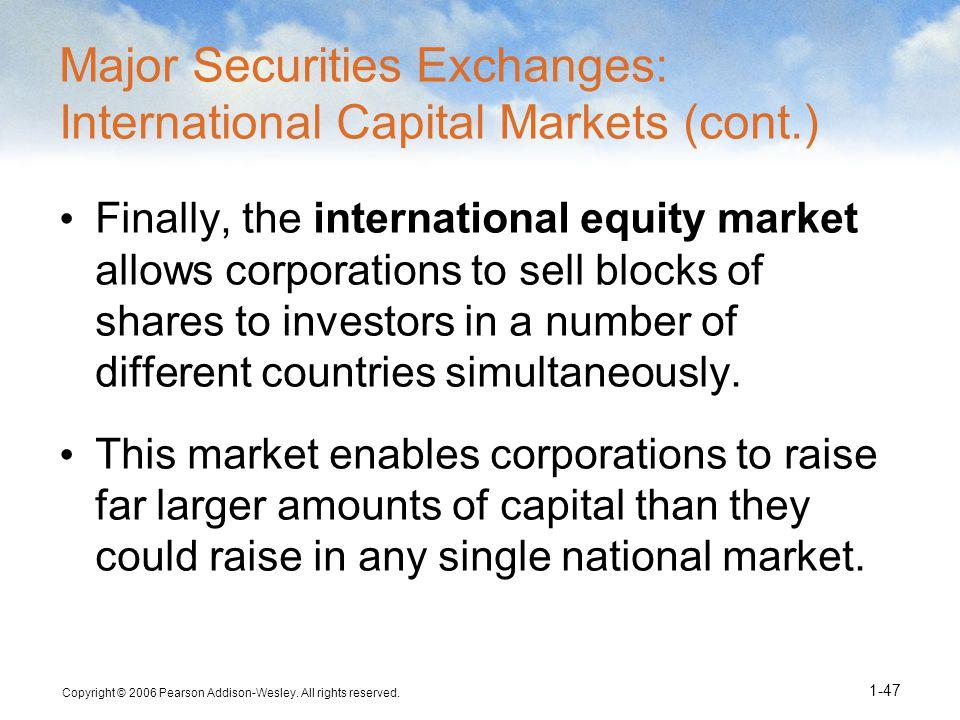 Major Securities Exchanges: International Capital Markets (cont.)