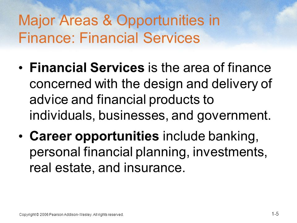 Major Areas & Opportunities in Finance: Financial Services