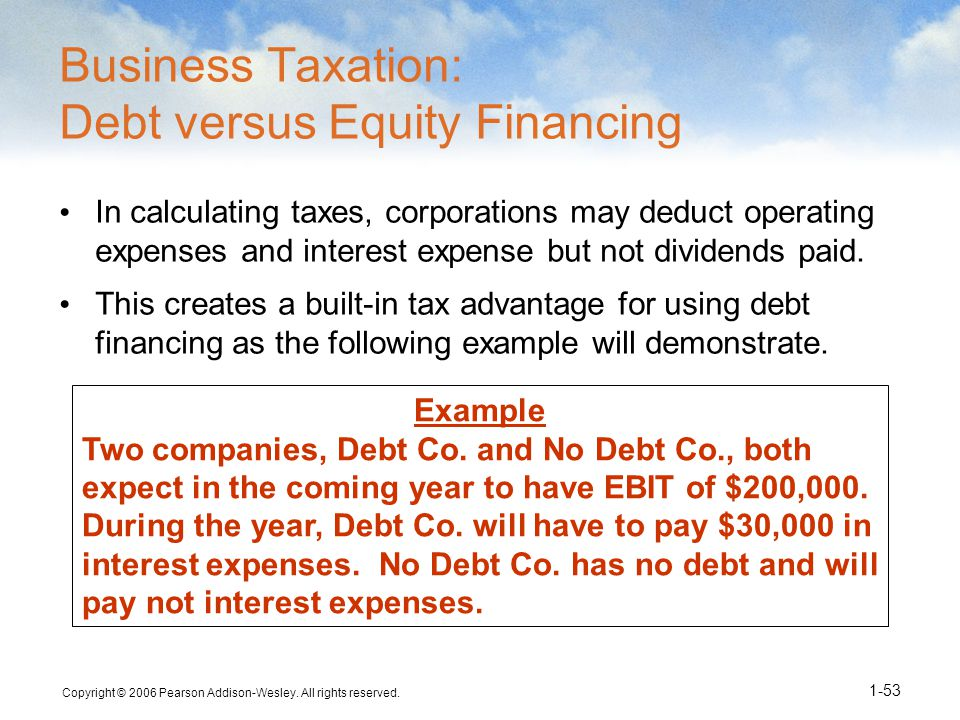 Business Taxation: Debt versus Equity Financing