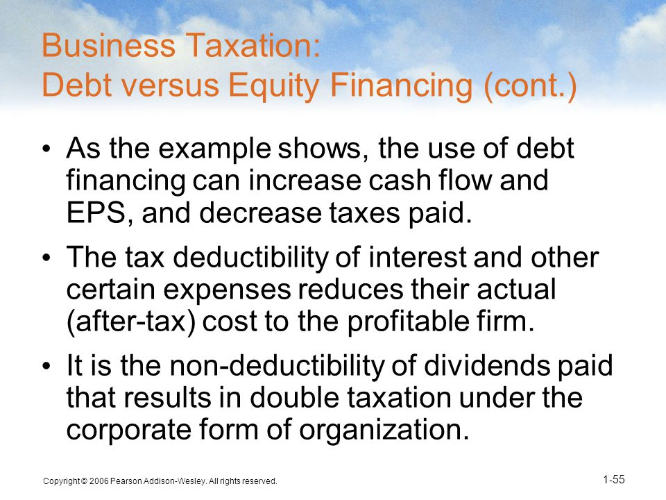 Business Taxation: Debt versus Equity Financing (cont.)