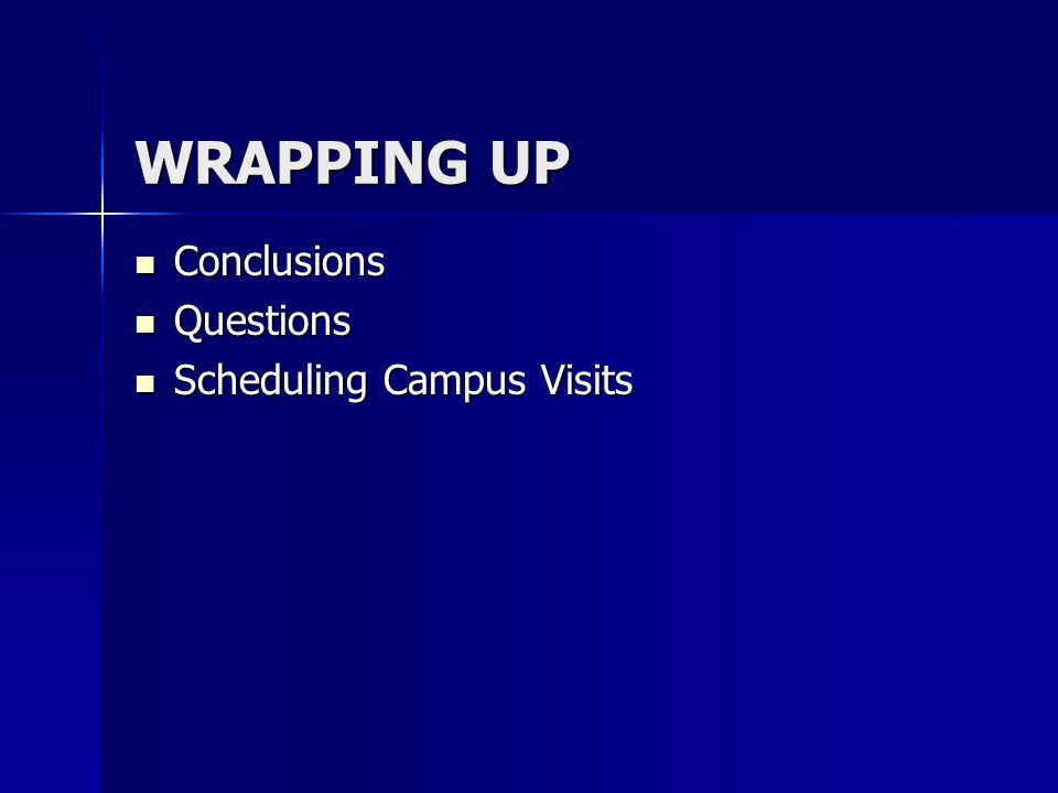 WRAPPING UP Conclusions Questions Scheduling Campus Visits
