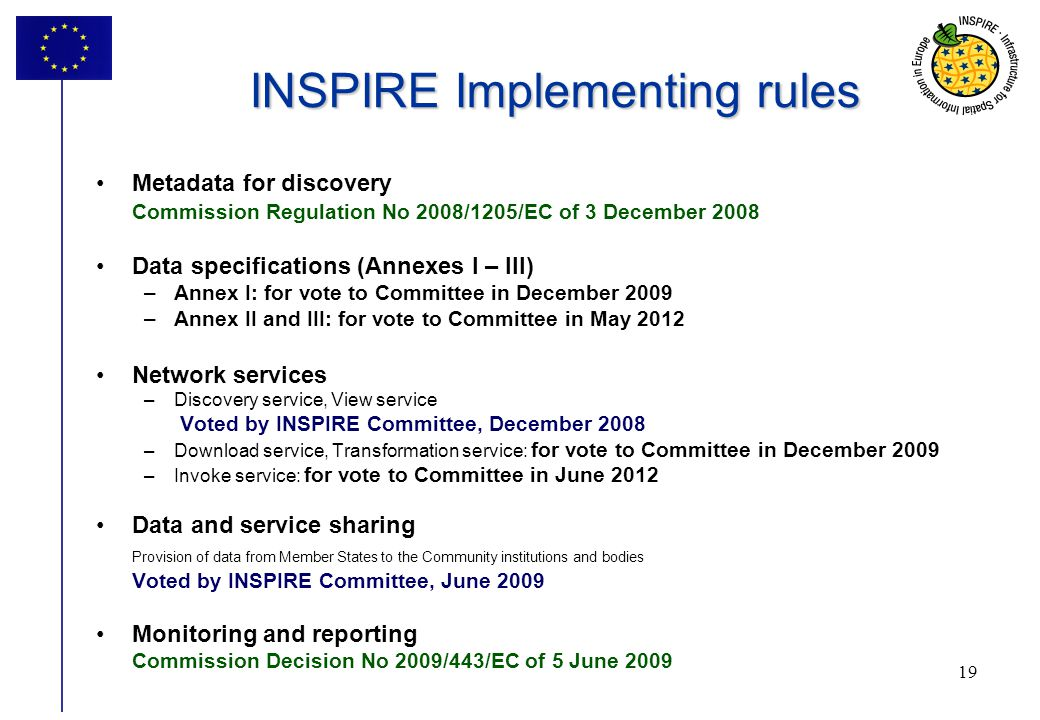 INSPIRE Implementing rules