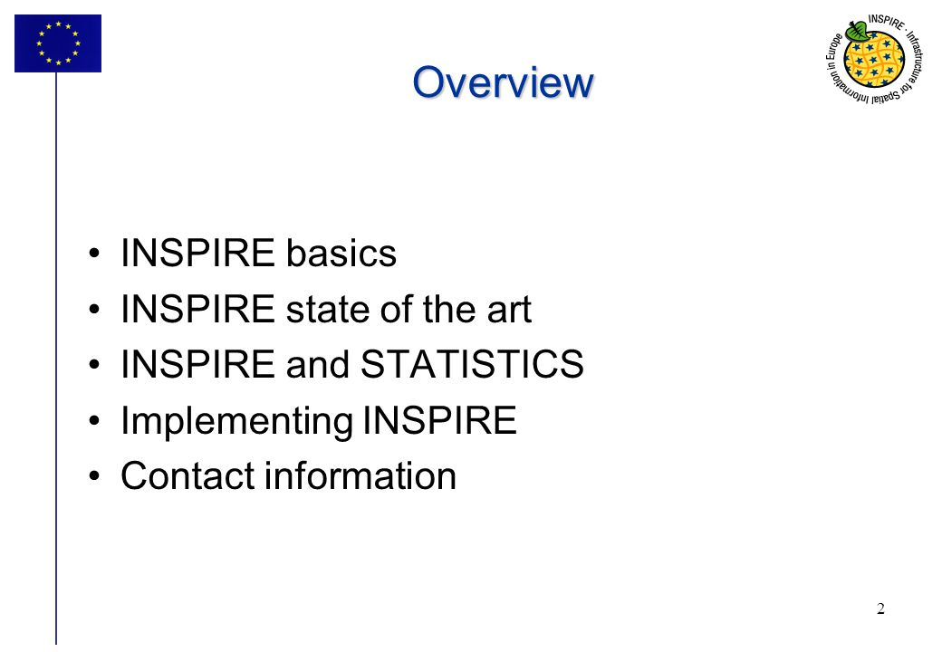 Overview INSPIRE basics INSPIRE state of the art