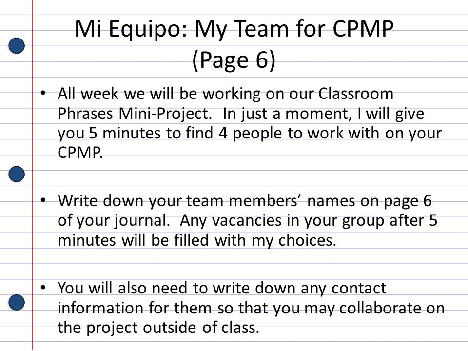 Mi Equipo: My Team for CPMP (Page 6)