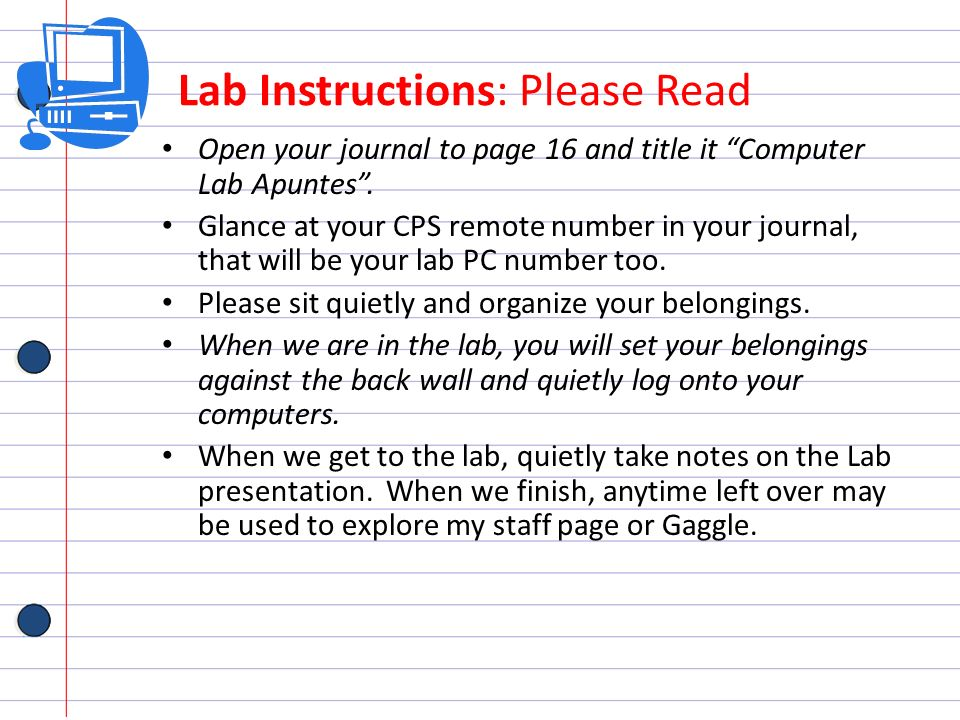 Lab Instructions: Please Read