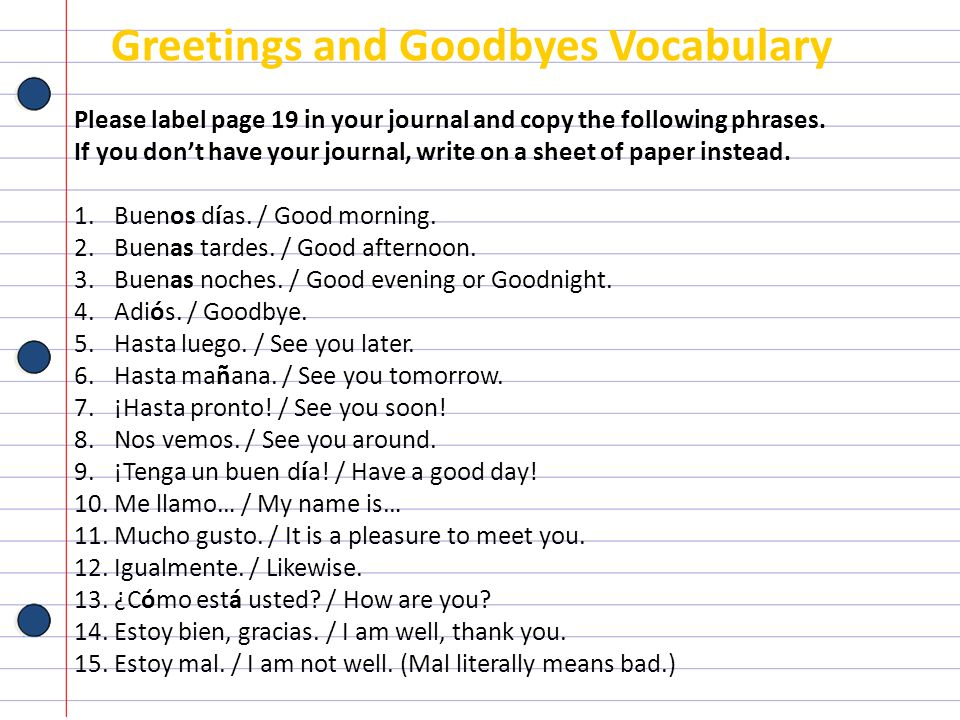 Greetings and Goodbyes Vocabulary