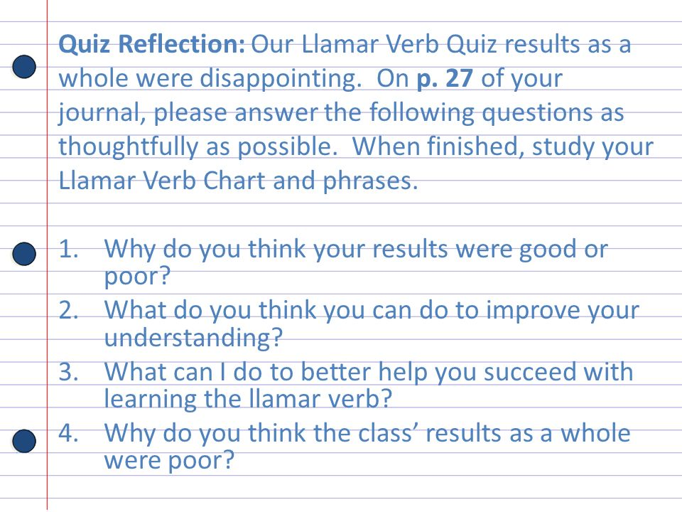 Quiz Reflection: Our Llamar Verb Quiz results as a