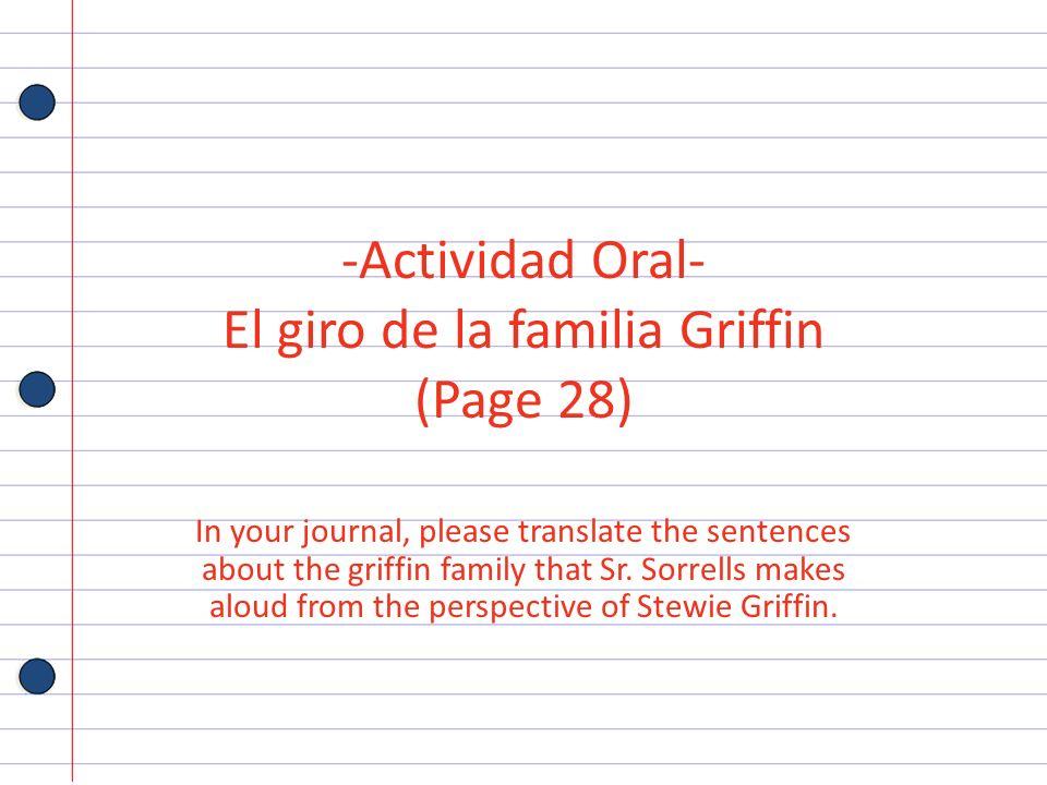 Actividad Oral- El giro de la familia Griffin (Page 28)