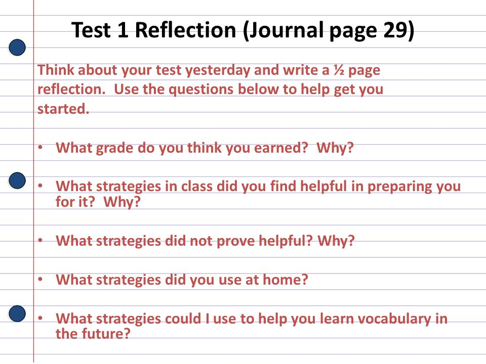 Test 1 Reflection (Journal page 29)