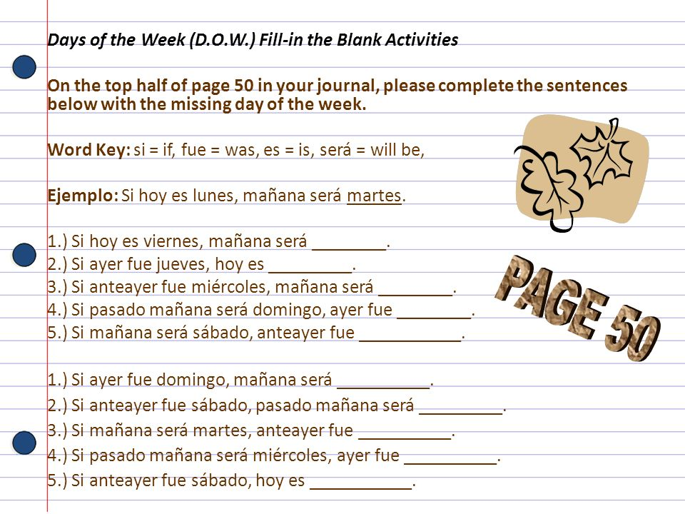 PAGE 50 Days of the Week (D.O.W.) Fill-in the Blank Activities