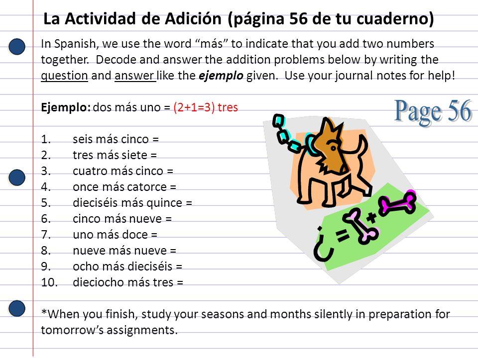 La Actividad de Adición (página 56 de tu cuaderno)