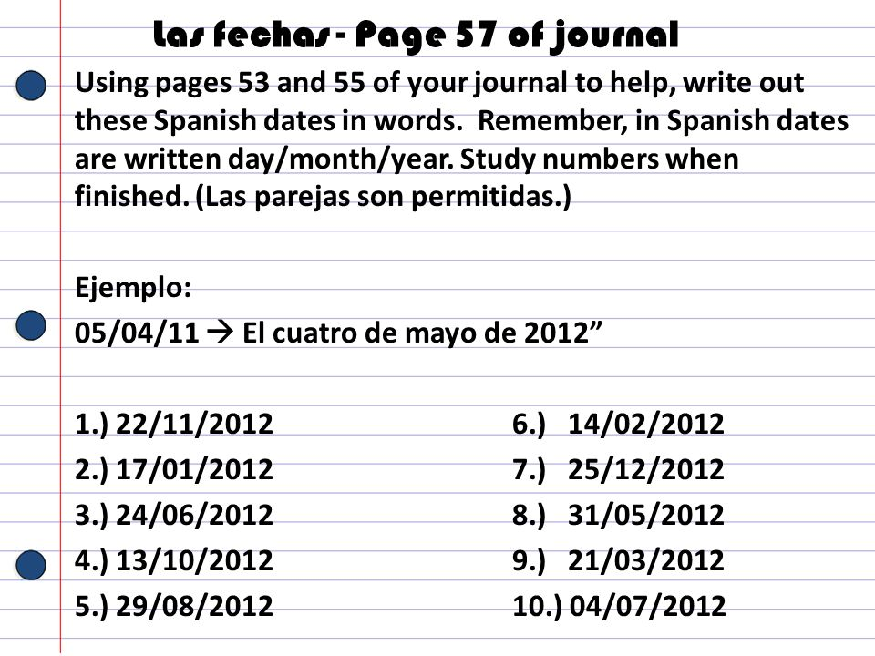 Las fechas - Page 57 of journal