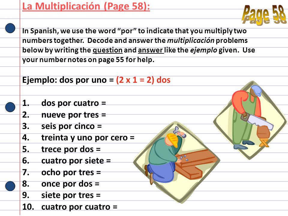 Page 58 La Multiplicación (Page 58):