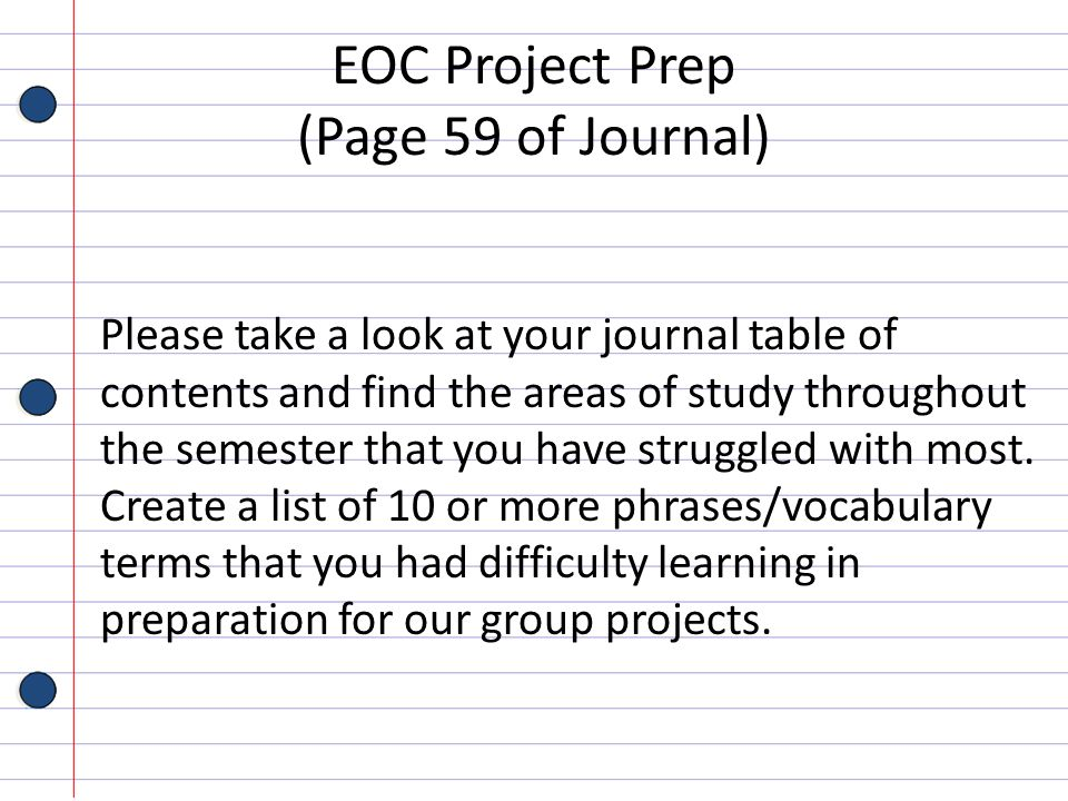 EOC Project Prep (Page 59 of Journal)