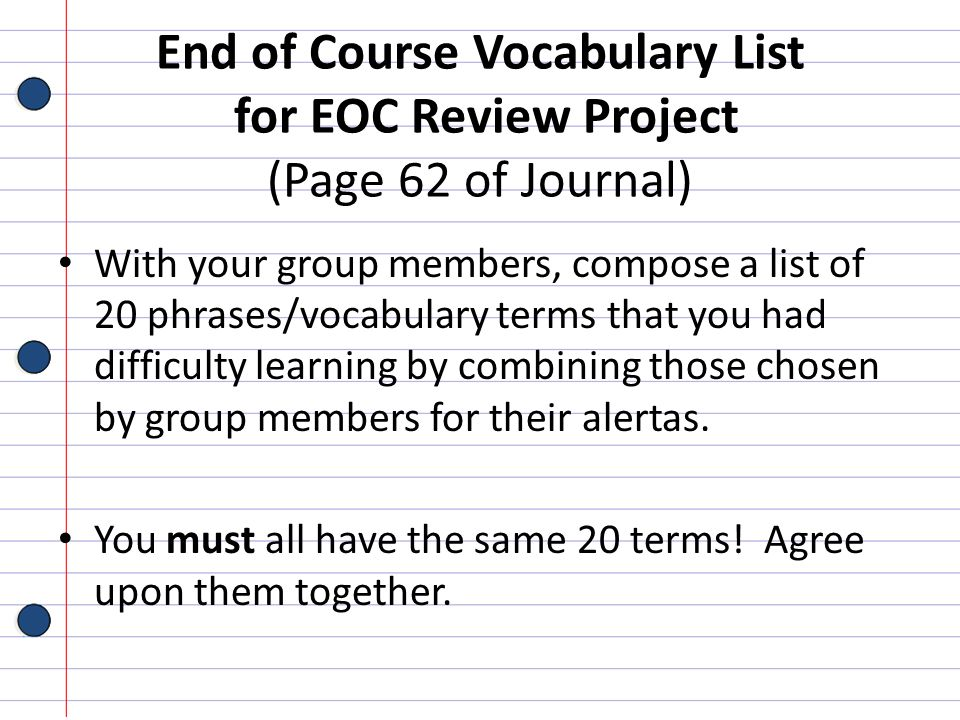 End of Course Vocabulary List for EOC Review Project (Page 62 of Journal)