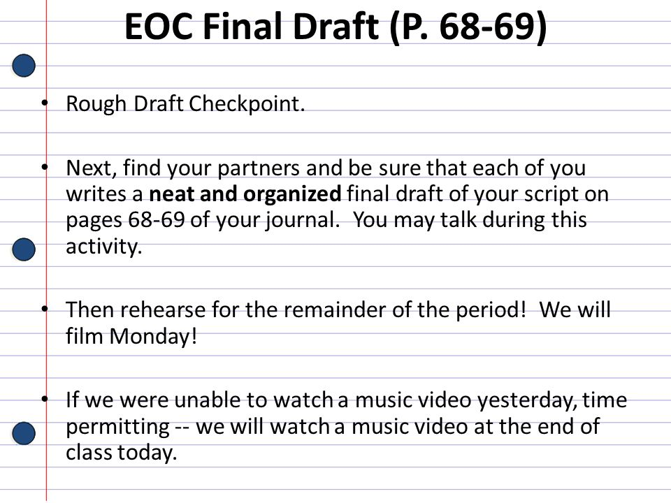EOC Final Draft (P. 68-69) Rough Draft Checkpoint.