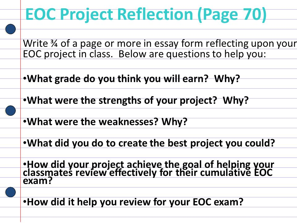 EOC Project Reflection (Page 70)