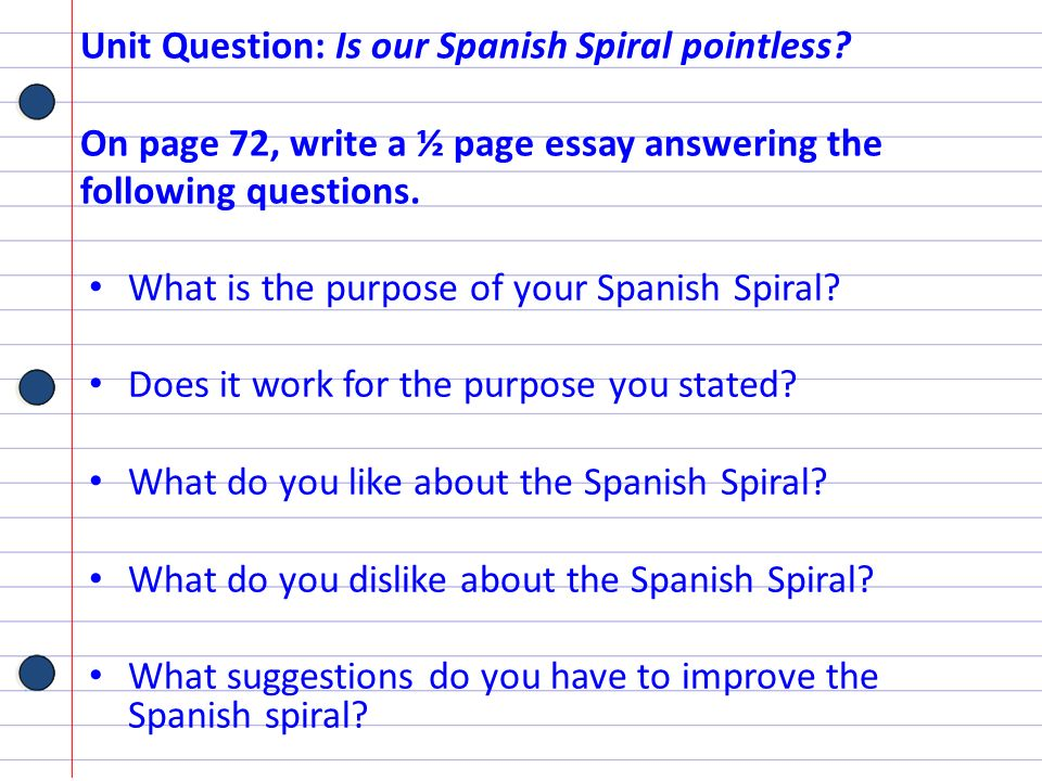Unit Question: Is our Spanish Spiral pointless