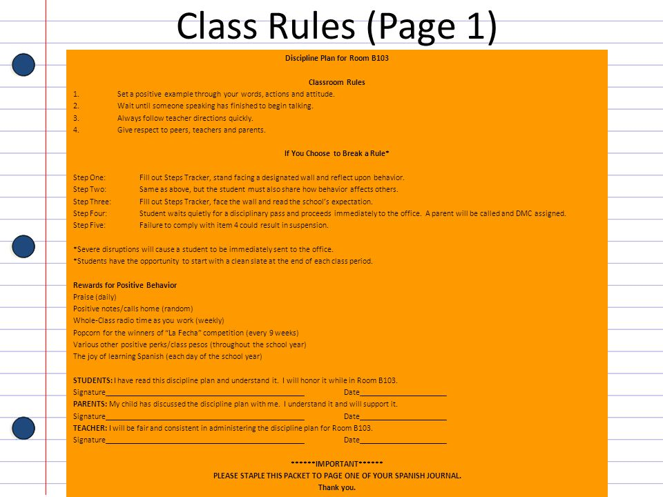 Class Rules (Page 1) Discipline Plan for Room B103 Classroom Rules