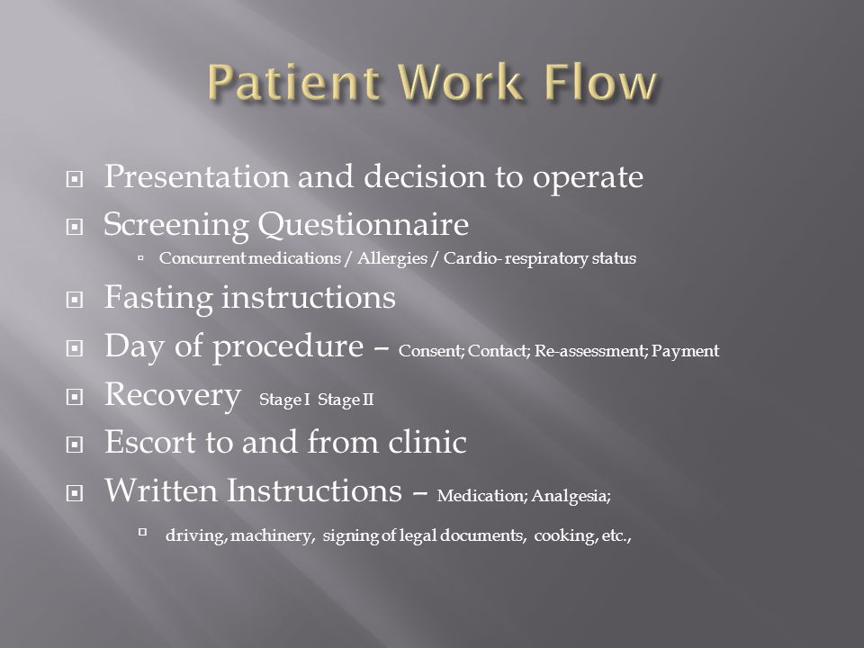 Patient Work Flow Presentation and decision to operate