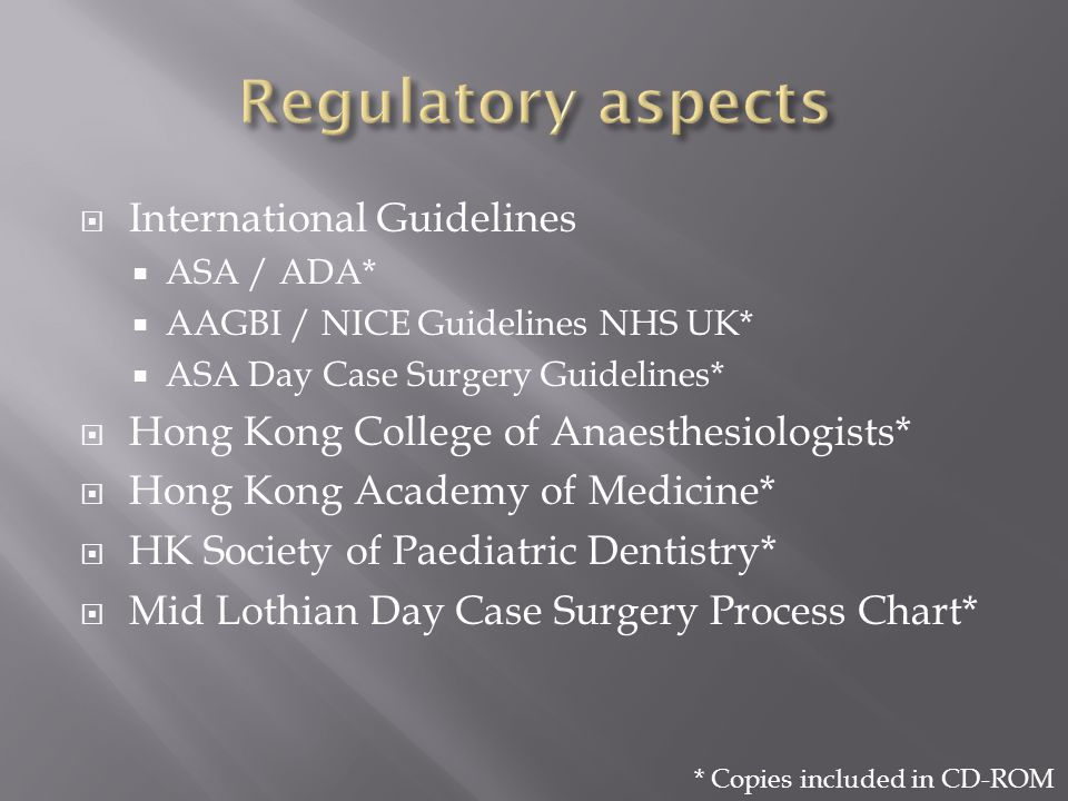 Regulatory aspects International Guidelines