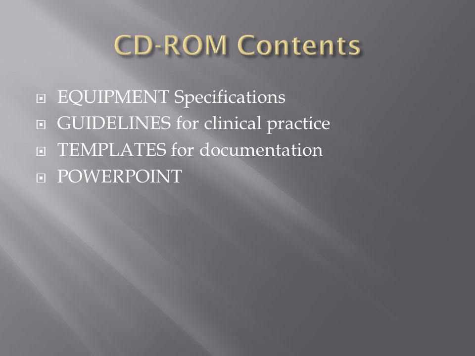 CD-ROM Contents EQUIPMENT Specifications