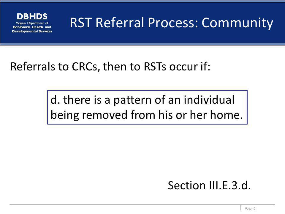 RST Referral Process: Community