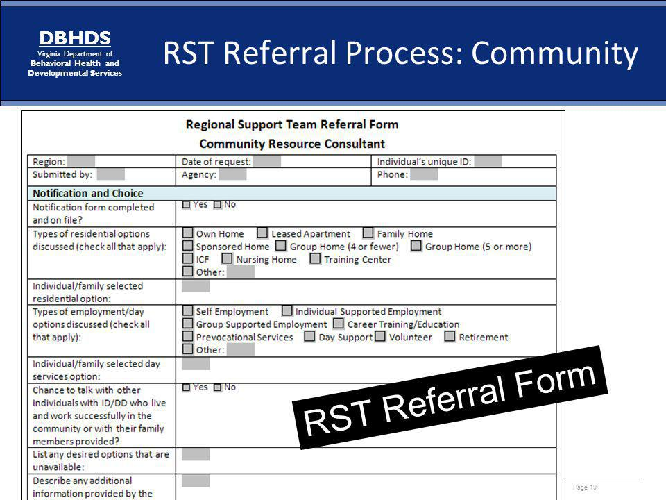 RST Referral Process: Community