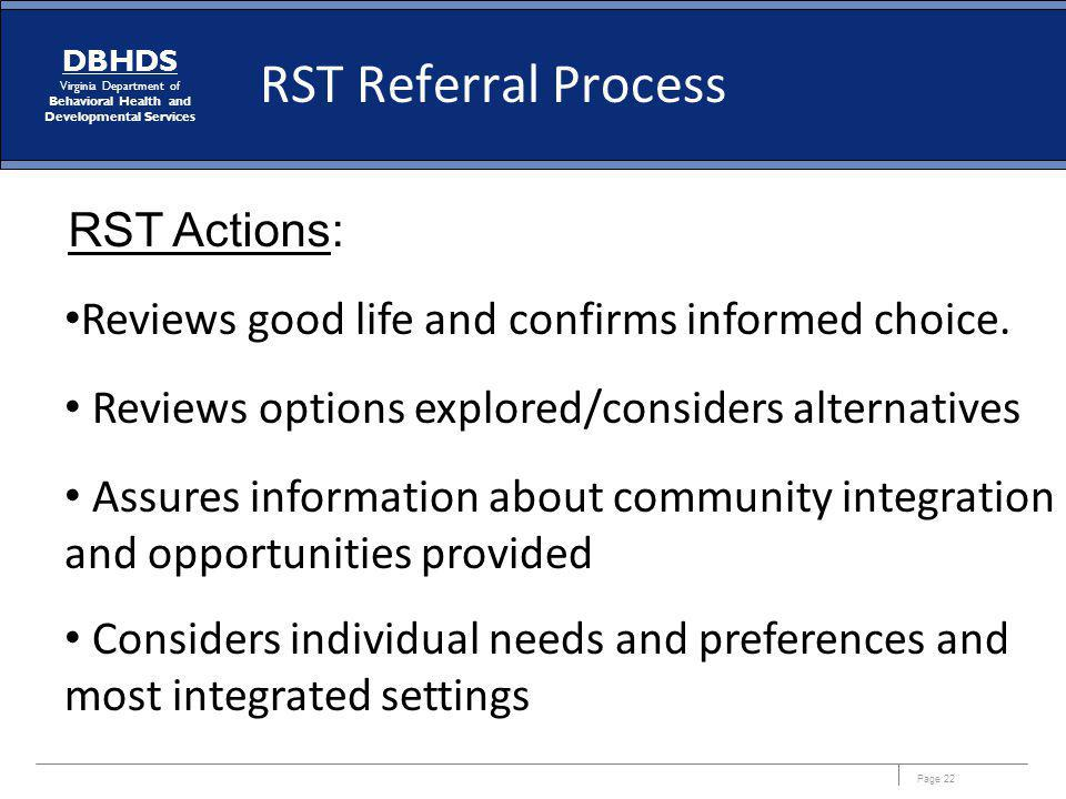 RST Referral Process RST Actions:
