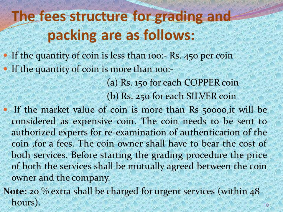 The fees structure for grading and packing are as follows: