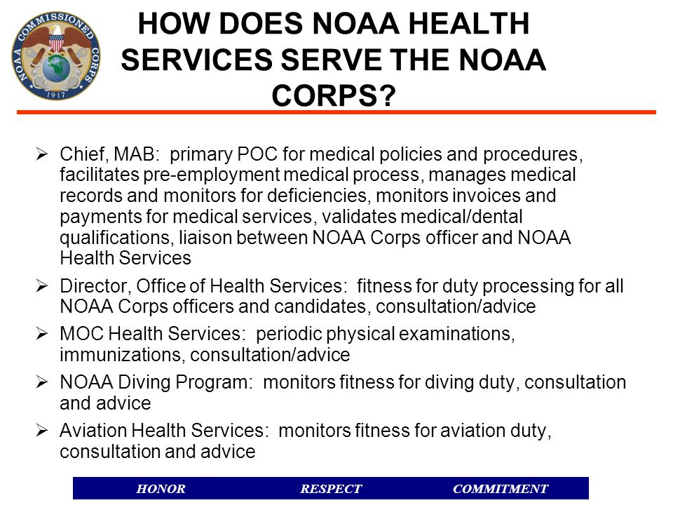 HOW DOES NOAA HEALTH SERVICES SERVE THE NOAA CORPS