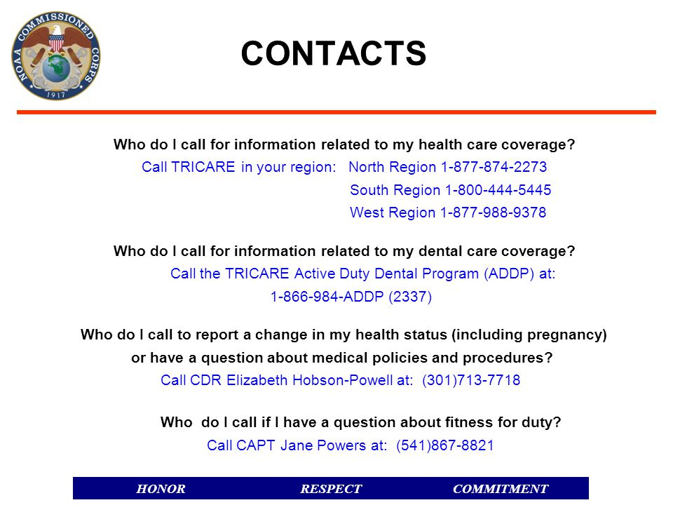 CONTACTS Who do I call for information related to my health care coverage Call TRICARE in your region: North Region 1-877-874-2273.