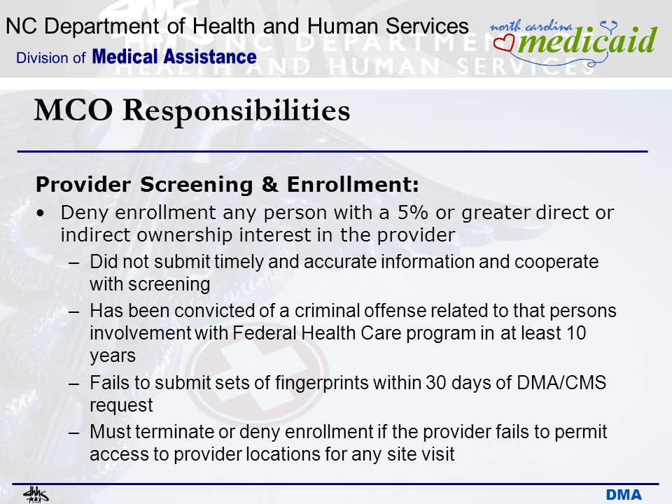 MCO Responsibilities Provider Screening & Enrollment: