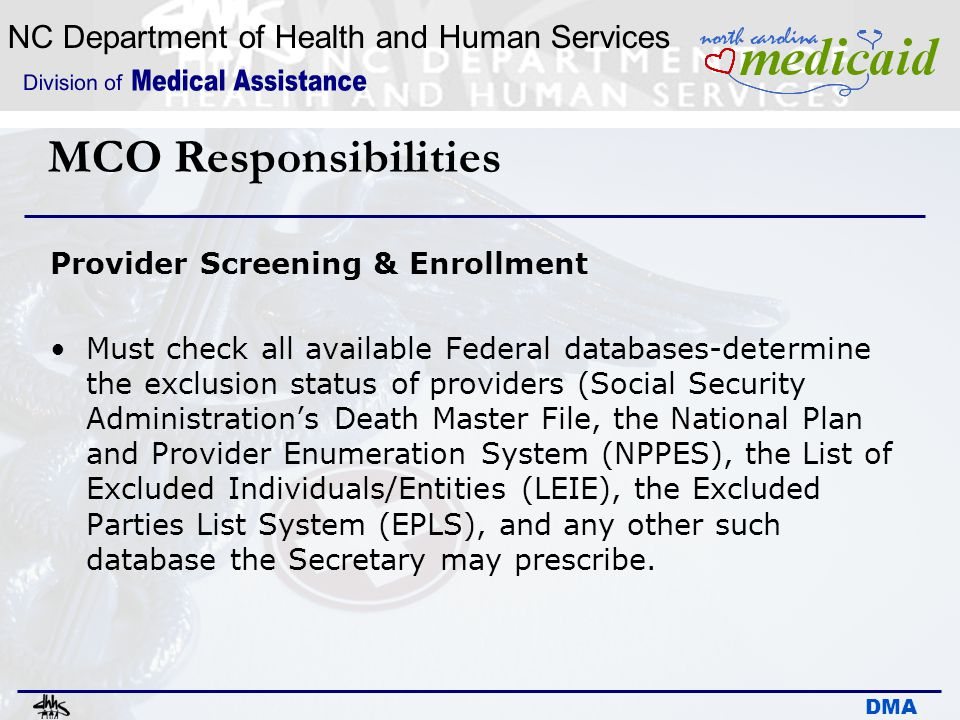 MCO Responsibilities Provider Screening & Enrollment