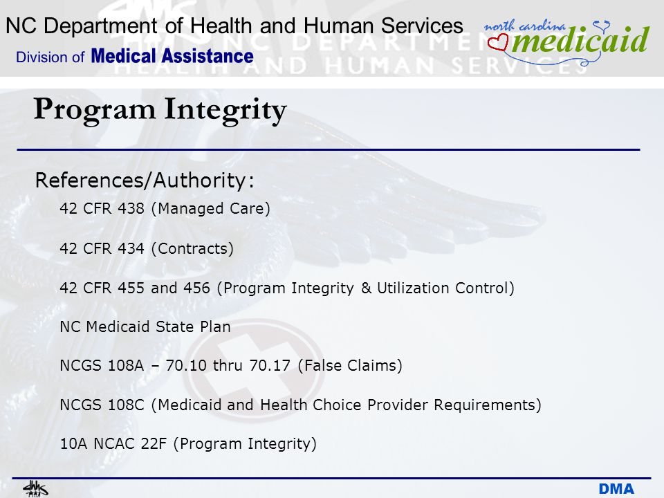 Program Integrity References/Authority: 42 CFR 438 (Managed Care)